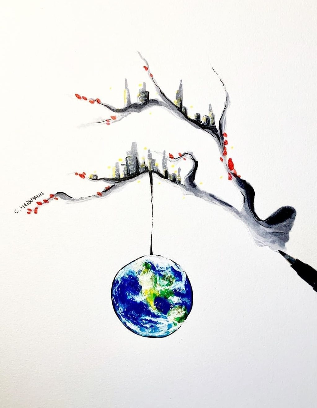 Hanging planet